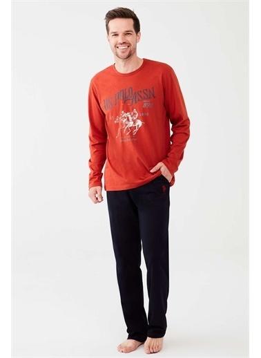 U.S. Polo Assn. U.S. Polo Assn. Erkek Turuncu Yuvarlak Yaka Pijama Takım Oranj